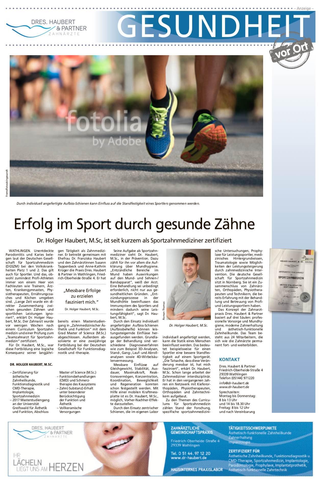 Unsere Seite in der CZ am 11.01.2019 über Sportzahnmedizin