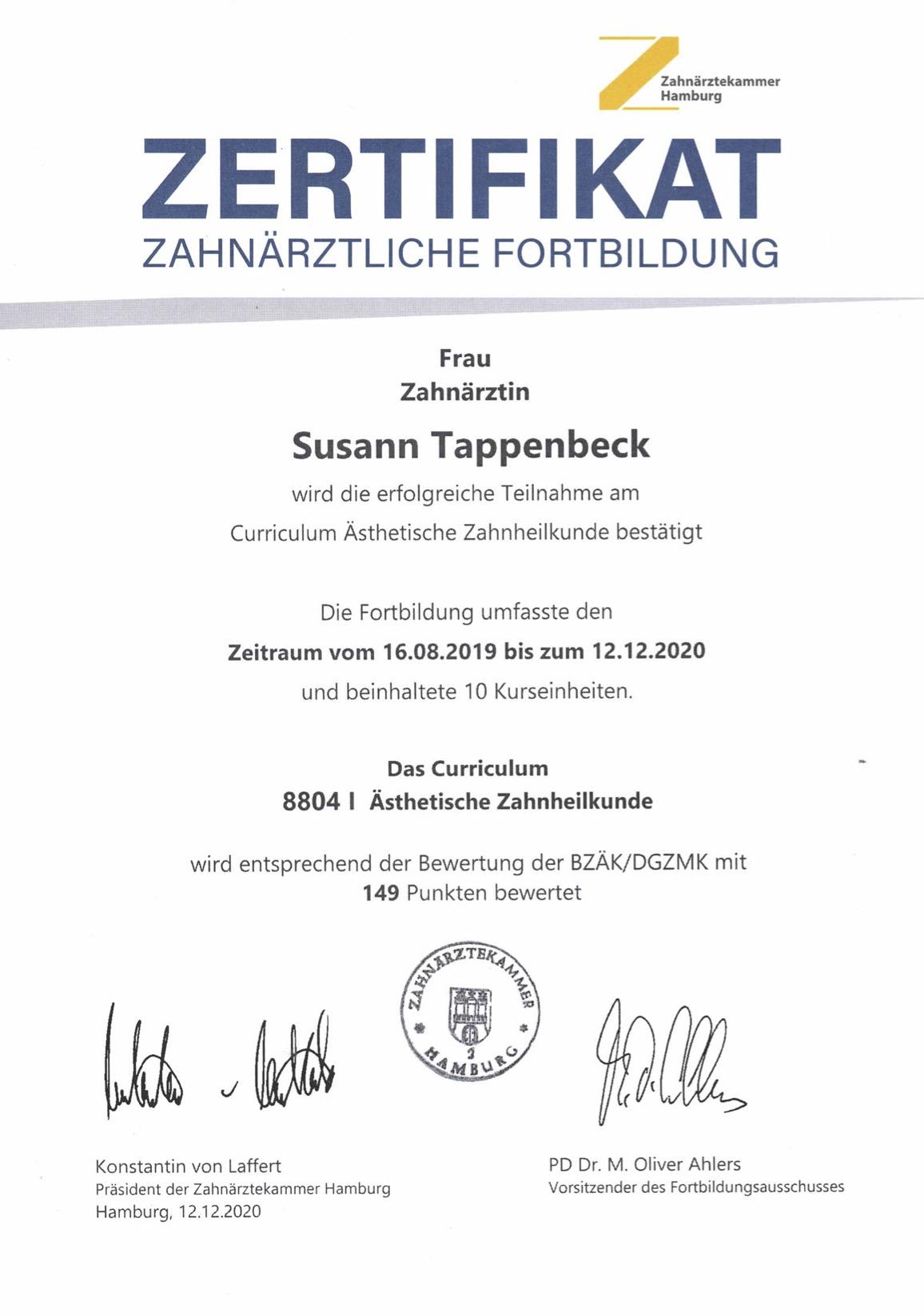 Herzlichen Glückwunsch zur bestandenen Prüfung, Frau Tappenbeck!